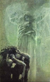 Demon and Angel With Tamara's Soul by Mikhail Vrubel